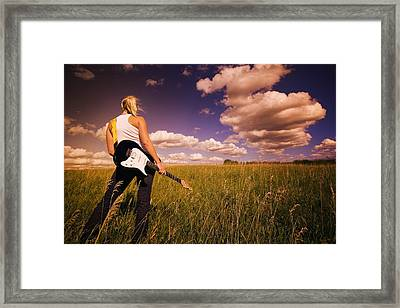 Young Woman With Electric Guitar Framed Print