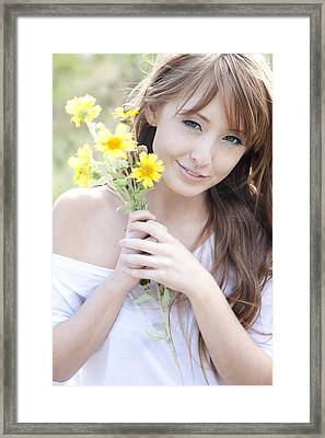Young Woman With Flowers Framed Print by Brandon Tabiolo