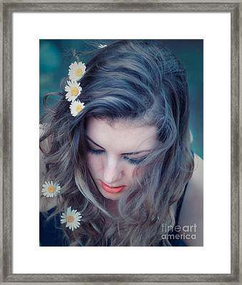 Young Woman With Flowers In Her Hair Framed Print by Gabriela Insuratelu