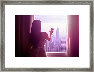 Young Woman With Hand On Window And New Framed Print by Flavia Morlachetti