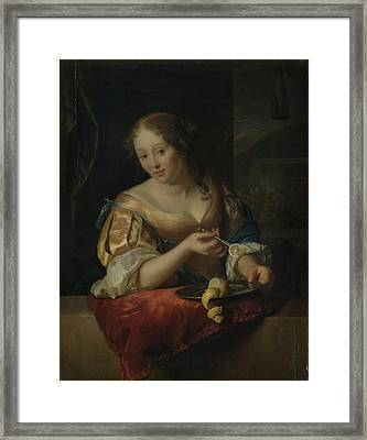 Young Woman With Lemon, Godfried Schalcken Framed Print by Litz Collection
