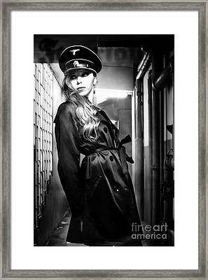Young Woman With Nazi Cap Cosplay Uniform Framed Print by Joe Fox