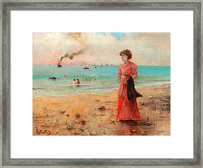 Young Woman With Red Umbrella Framed Print