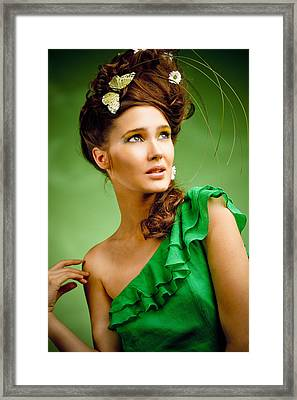 Young Woman With Spring Make-up Framed Print