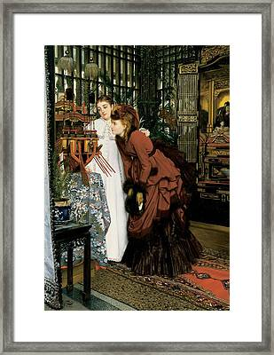 Young Women Looking At Japanese Articles, 1869 Oil On Canvas Framed Print by James Jacques Joseph Tissot