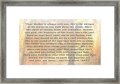 Your Mothers Whisper Framed Print by Beverly Guilliams