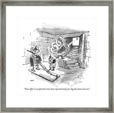 Your Offer To Compromise Has Been Rejected Framed Print by George Booth