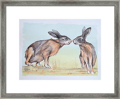 Your Place Or Mine Framed Print by Cynthia House