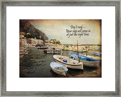 Your Ship Will Come In Framed Print by TK Goforth