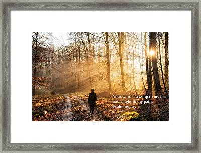 Your Word Is A Light To My Path Bible Verse Quote Framed Print by Matthias Hauser
