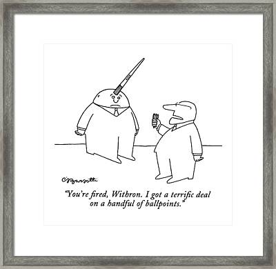 You're Fired Framed Print by Charles Barsotti