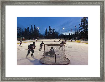 Youth Hockey Action At Woodland Park Framed Print