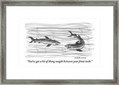 You've Got A Bit Of Thong Caught Framed Print by Nick Downes