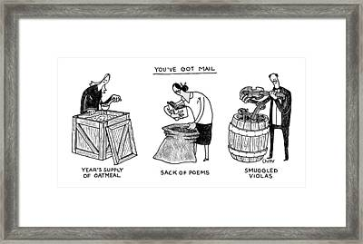 You've Got Mail -- A Triptych Of Strange Packages Framed Print