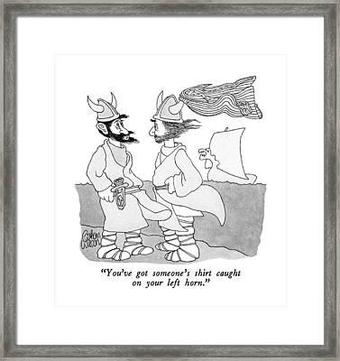 You've Got Someone's Shirt Caught On Your Left Framed Print by Gahan Wilson