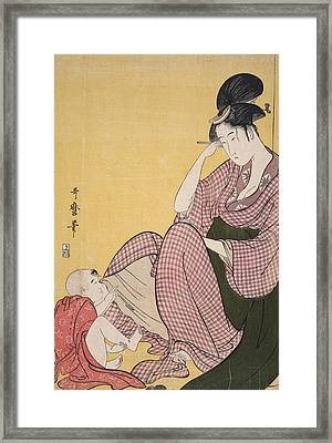 Yubi-sashi = Child Pointing, Kitagawa Framed Print by Artokoloro
