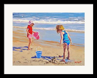 Children Playing On Beach Framed Prints