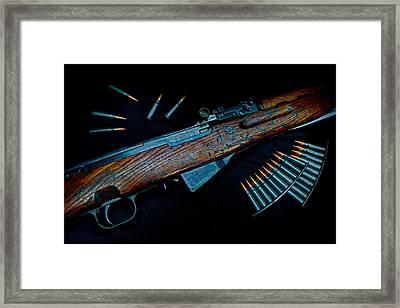 Yugoslavian Sks Rifle With Stripper Clips Framed Print by Geoffrey Coelho