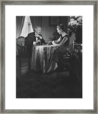 Yul Brynner Playing Backgammon With His Wife Framed Print