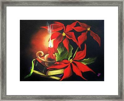 Yule Candle Glow Framed Print by Joni McPherson