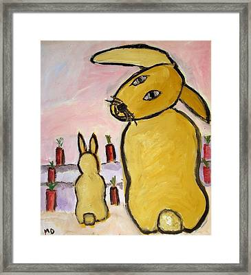 Framed Print featuring the painting Yummy Bunny by Michael Dohnalek