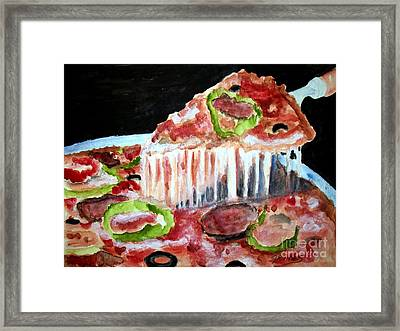 Yummy Pizza Pie Framed Print