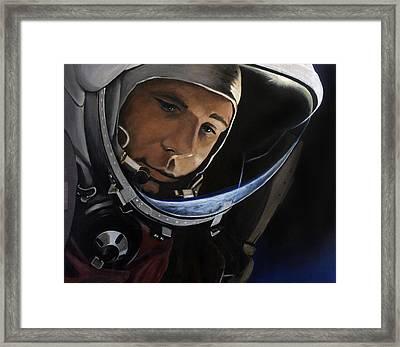 Yuri Alekseyevich Gagarin Framed Print by Simon Kregar