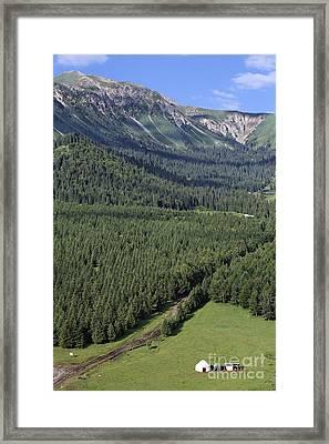 Yurt In The Valley Of Flowers In Kyrgyzstan Framed Print by Robert Preston