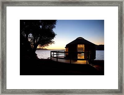 Yurt On Lake Cachuma Framed Print by Jenna Szerlag