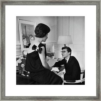 Yves St. Laurent With His Mother Framed Print
