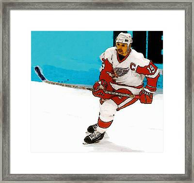 Yzerman Stick Framed Print