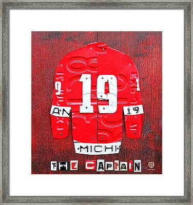 Yzerman The Captain Red Wings Hockey Jersey License Plate Art Framed Print