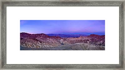 Zabriskie Sunrise Panorama - Death Valley National Park. Framed Print
