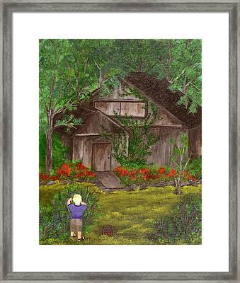 Zach The Blueberry Picker Framed Print by Barbara Willms