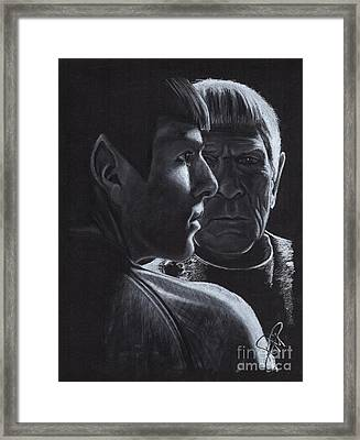 Zachary Quinto And Leonard Nimoy Framed Print by Rosalinda Markle