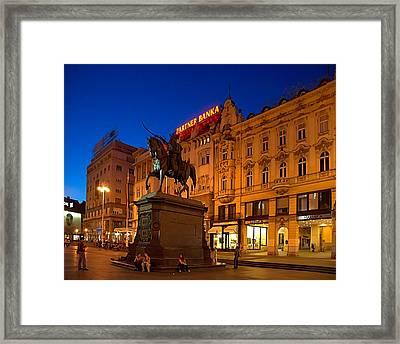 Zagreb Ban Jelacic Square At Night Framed Print by Steven Richman