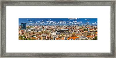 Zagreb Lower Town Colorful Panoramic View Framed Print