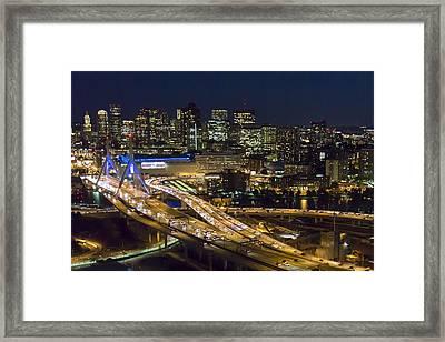 Zakim And Boston At Night Framed Print