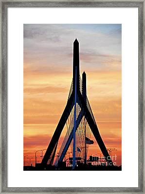 Zakim Bridge In Boston Framed Print
