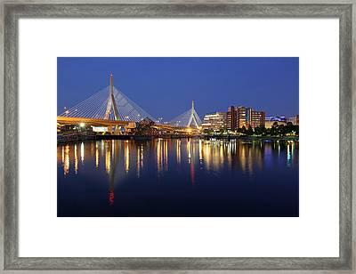 Zakim Bridge In Boston Framed Print by Juergen Roth