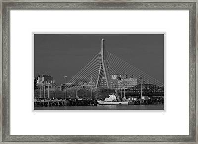 Framed Print featuring the photograph Zakim Bridge In Bw by Caroline Stella