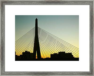 Zakim Bridge Silhouette Framed Print