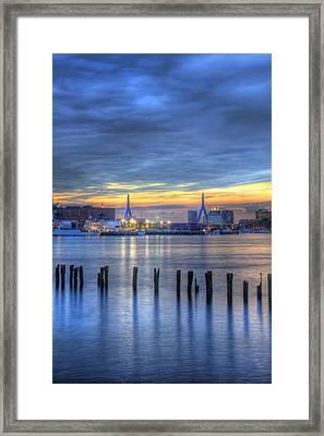 Zakim Bridge Sunset 3 Framed Print