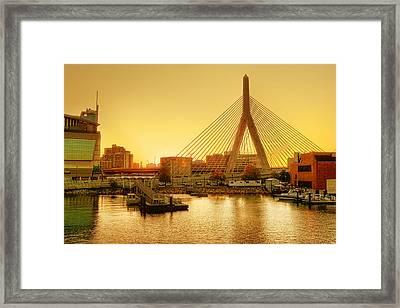 Zakim Bridge Sunset Framed Print by Nikolyn McDonald