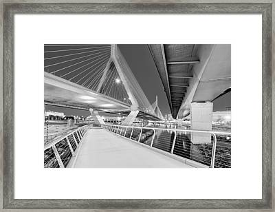 Zakim Bridge Twilight In Boston Bw Framed Print