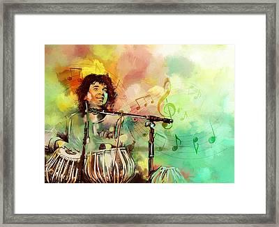 Zakir Hussain Framed Print by Catf
