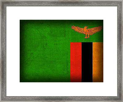 Zambia Flag Distressed Vintage Finish Framed Print by Design Turnpike