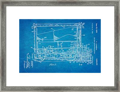 Zamboni Ice Rink Resurfacing Patent Art 1953 Blueprint Framed Print by Ian Monk