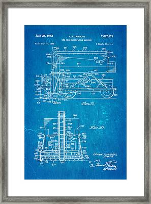 Zamboni Ice Rink Resurfacing Patent Art 2 1953 Blueprint Framed Print