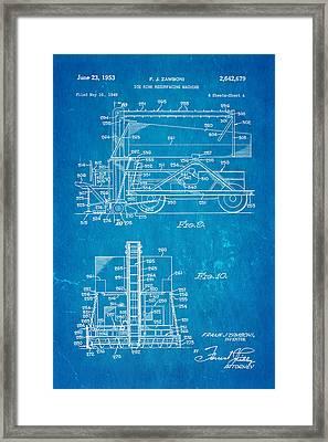 Zamboni Ice Rink Resurfacing Patent Art 2 1953 Blueprint Framed Print by Ian Monk